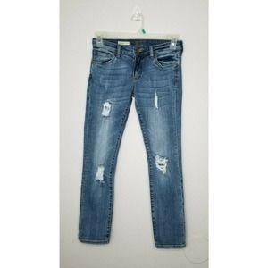 Kut Blue Crop Jeans Size 2P, Boyfriend Distressed